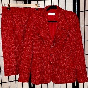 Escada Red Boucle Tweed Skirt Blazer Suit